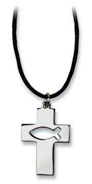 """Halskette mit Anhänger """"Kreuz/Ichthys"""""""